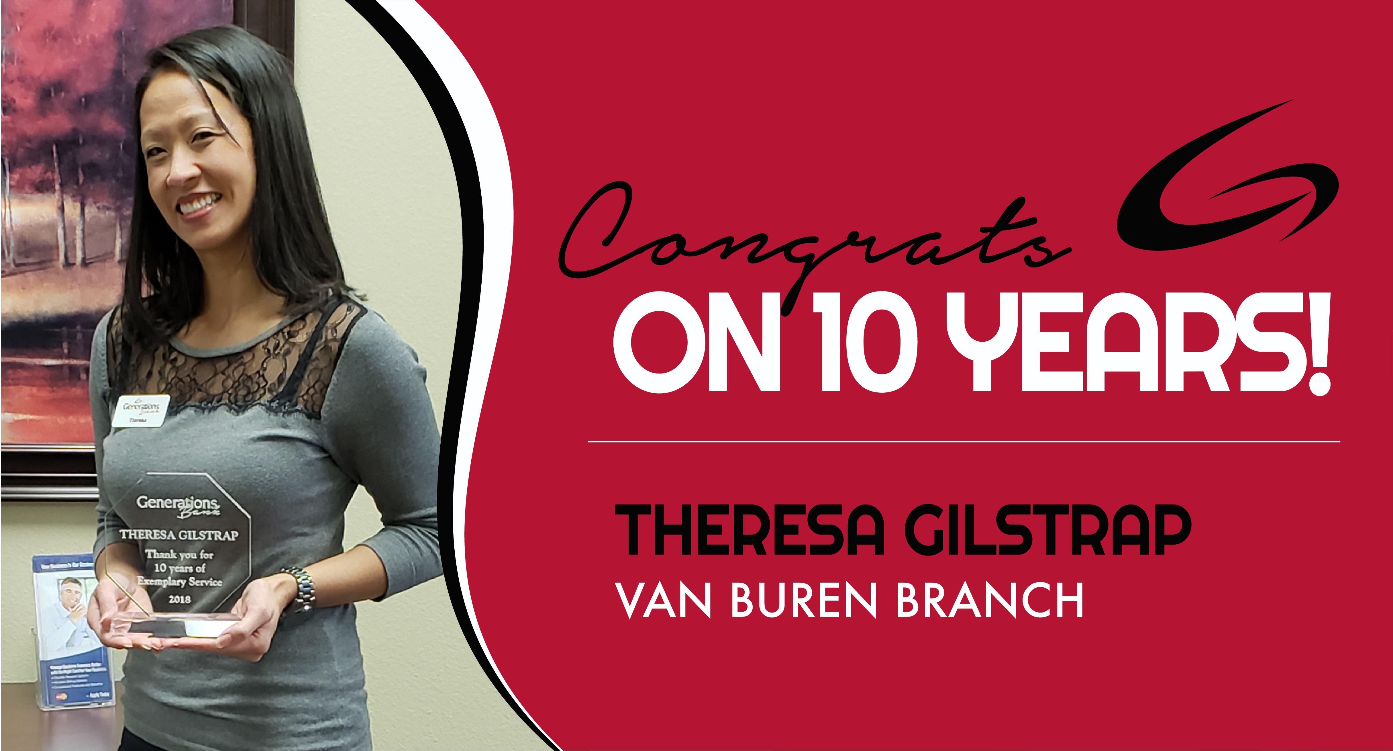 Congratulations Theresa Gilstrap on 10 Years!